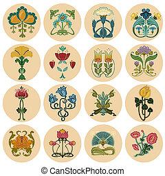 vindima, flores, etiqueta, jogo, -, em, vetorial