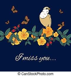 vindima, flores, fundo, com, pássaro