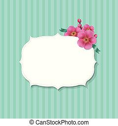 vindima, flores, sakura, etiqueta