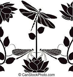 vindima, flourishes, elemento, desenho, libélulas