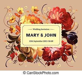 vindima, flowers., jardim, cartão