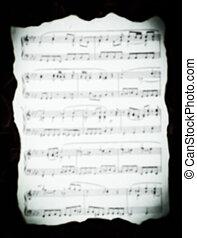 vindima, folha música, com, queimado, bordas, em, a, blur.