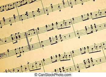 vindima, folha música, notas.
