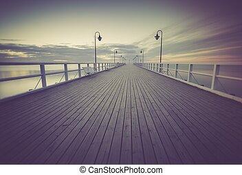 vindima, foto, de, bonito, seascape, com, madeira, pier.