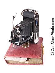 vindima, fotografia, câmera, com, antigas, photoalbum