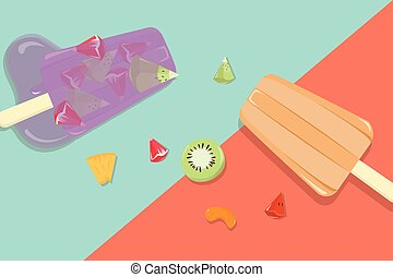 vindima, fruta, caseiro, fundo, popsicles