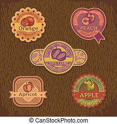 vindima, fruta, etiqueta