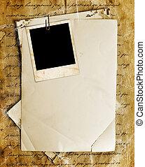 vindima, fundo, com, antigas, papel, letras, e, fotografias