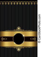 vindima, fundo, com, ouro, ornamento, e, frame.