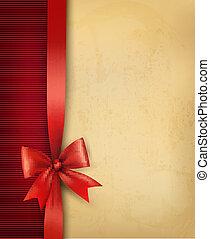 vindima, fundo, com, vermelho, arco presente, e, fita, ligado, antigas, paper., vetorial, illustration.