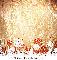 vindima, fundo, madeira, floral