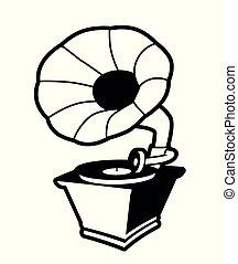 vindima, gramophone, branca, isolado, fundo