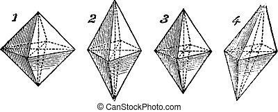 vindima, gravado, octahedron, ilustração