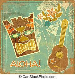 vindima, havaiano, cartão