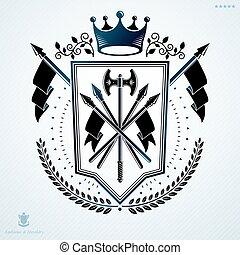 vindima, heraldic, braços, distinção, vetorial, agasalho, decorado, design.