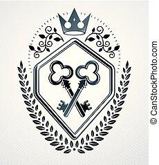 vindima, heraldic, vetorial, emblema, design.