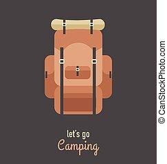 vindima, hipster, acampamento, hiking, cartaz