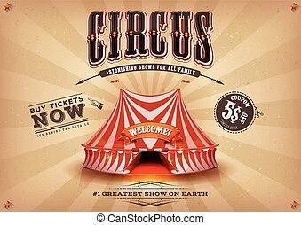 vindima, horizontais, circo, antigas, cartaz