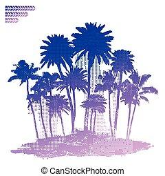 vindima, ilha, ilustração, oceânicos
