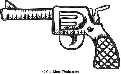 vindima, ilustração, braço, vetorial, style., arma, mão, desenhado