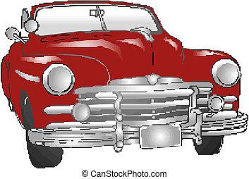 vindima, ilustração, car