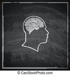 vindima, ilustração, de, cabeça humana, com, cérebro, ligado, quadro-negro, fundo