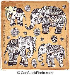 vindima, ilustração, elefante