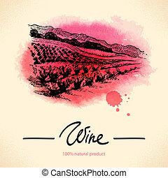 vindima, ilustração, mão, aquarela, experiência., desenhado, vinho