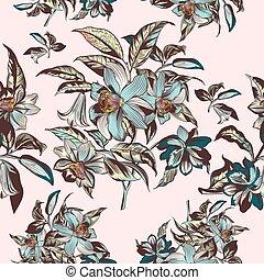 vindima, ilustração, mão, vitoriano, vetorial, floral, desenhado, flores, style.eps