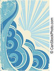 vindima, ilustração, vetorial, sun., mar, ondas, paisagem