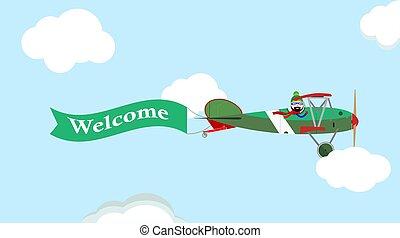vindima, imagem, céu, avião, vetorial, bandeira