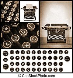 vindima, imagem, cobrança, máquina escrever