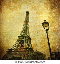 vindima, imagem, eiffel, paris, frança, torre