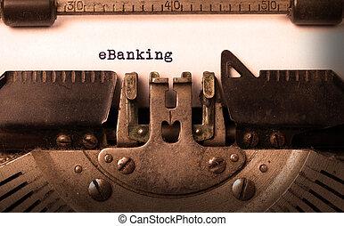 vindima, inscrição, feito, por, antigas, máquina escrever