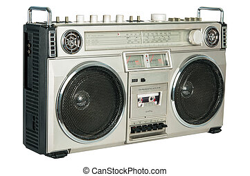 vindima, isolado, rádio, cassete, registrador, branca