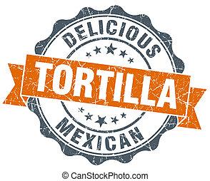 vindima, isolado, selo, laranja, branca, tortilla