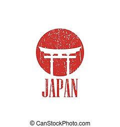 vindima, japão, ilustração, portão