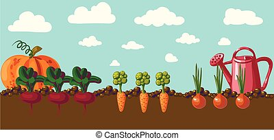 vindima, jardim, bandeira, com, raiz, veggies