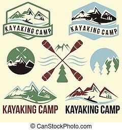 vindima, jogo, etiquetas, kayaking, acampamento
