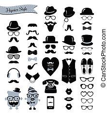 vindima, jogo, hipster, retro, ícone