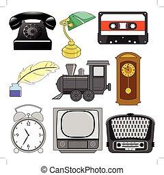 vindima, jogo, ilustração, objetos