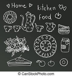 vindima, jogo, vector., cozinha
