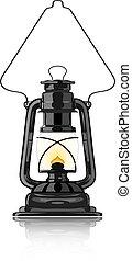 vindima, lâmpada, reflexão., óleo