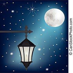 vindima, lâmpada, rua, noturna