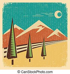 vindima, landscape.vector, ilustração, natureza