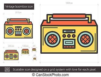 vindima, linha, boombox, icon.
