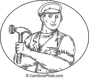 vindima, linha, martelo, carpinteiro, mono