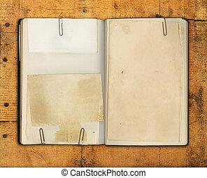 vindima, livro, madeira, resistido, em branco