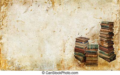 vindima, livros, ligado, um, grunge, fundo