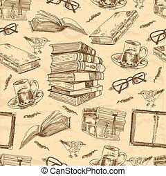 vindima, livros, seamless, padrão